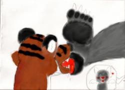 Footpaw Cleaning Tiger|by Furrywriter