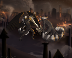 Demons Fight Over the City Lights|by Drakowolf