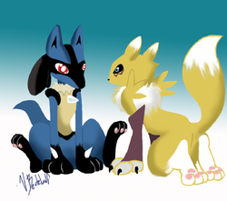 lucario meets renamon|by beutelwolf