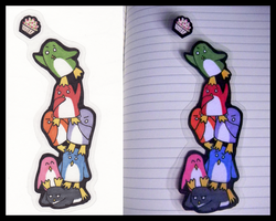 Colored Penguins Bookmark|by Strativarious
