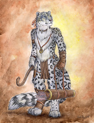 A Snow Leopard Archer|by autumnfirewolf