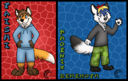 Phoenix and Taishi chibi badges