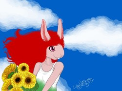 Bunny Girl With Sunflowers|by Lillywolfsbane