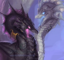 Black and white dragon preview|by Sixthleafclover