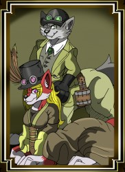 Ty & Emily Vulpintaur in Steampunk (Framed)|by TyVulpintaur