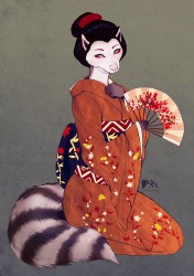 Commission: Raccoon Geisha|by WhiteMantis