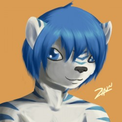 Blue tiger icon|by zhuria