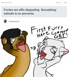 First Furry Hate Comment GET!|by IsaidRAWR