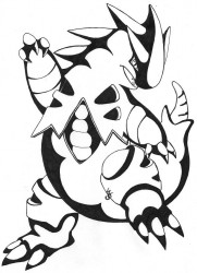 Tyranitar Line-Art|by WillowSeeker