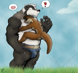 Badgery hugs|by crazyhusky