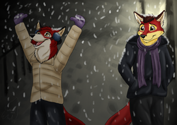 First Snow!|by Lonewolf Artz
