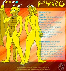 Pyro The Dragon Reference Sheet (Done by Kelly BlackWolf)|by Pyro The Dragon