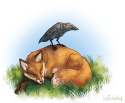 Fox and Raven|by GaiasAngel