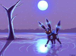 Umbreon and the Moon~|by AkiraGSD
