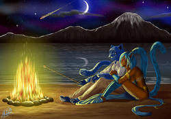 Friends By Firelight|by MechaChick