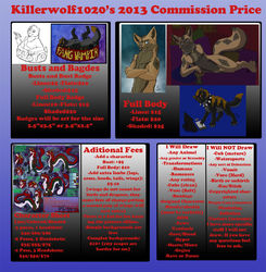 New 2013 Commission Price Guide|by Killerwolf1020