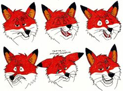 Nick Wilde Expressions (Zootopia)|by Yoshiknight2