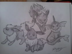 Eevee and the Original Eeveelutions!|by FluffyDog369
