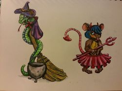 Devil Girl Mouse & Snake Witch|by CaptainXeno
