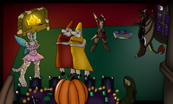 Commission - Halloween Party|by Malakye