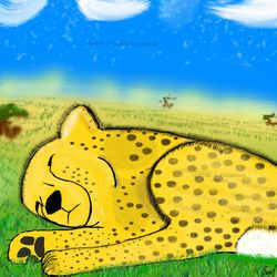 Sleeping Cheetah|by Tantorog