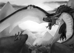 B&W Dragon Scene|by Carbontrap