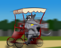 Furry in Hurry with Curry on a Surrey|by Mike Folf