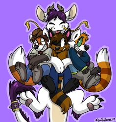 Floofy ringtail group hug