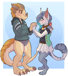 Chyuu and Kabier | Commission|by SBNeko