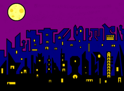 gothic city in purple